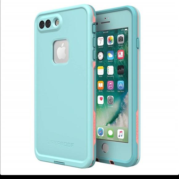 New seafoam and mango LifeProof iPhone 7 Plus case